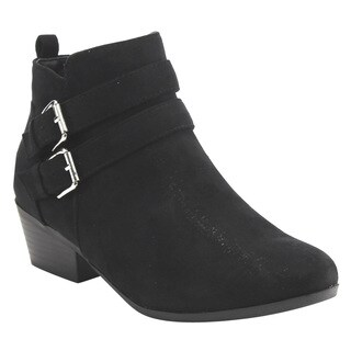 Bella Marie IC65 Women's Buckle Strap Chunky Heel Ankle Booties