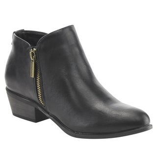 Bella Marie Women's IC63 Faux-leather Basic Side-zippered Chunky-heeled Ankle Bootie