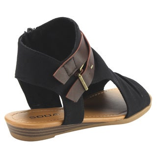Delicious IC81 Women's Side Cutout Criss Cross Strap Inside Zip Backless Wedges