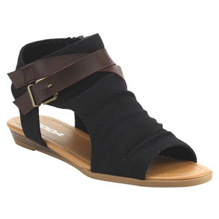 Delicious IC81 Women's Side Cutout Criss Cross Strap Inside Zip Backless Wedges Half Size Small