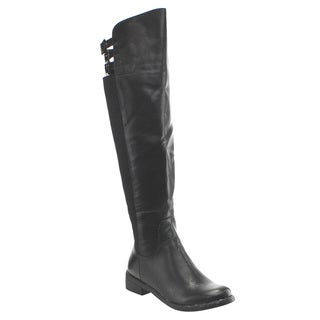 Liliana EF35 Women's Knee High Back Buckle Straps Chunky Riding Boots