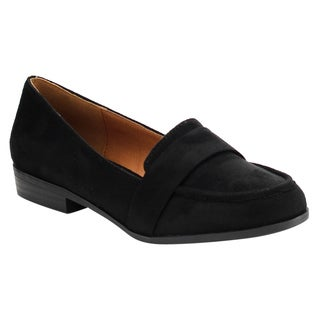 X2B Women's FG04 Faux Leather Slip-on Block-heel Loafers