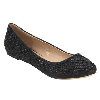 De Blossom Collection Women's FG48 Pewter Faux-leather Glitter Rhinestone Slip-on Ballet Flats