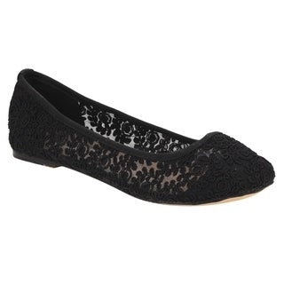 De Blossom Collection FG47 Women's Floral Lace Breathable Ballet Flats