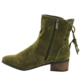 Breckelle's EF76 Women's Faux Suede Drawstring Side-zipper Chunky Ankle Booties