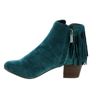 Breckelle's EF82 Women's Faux-suede Back-fringe Zip-up Stacked-heel Dress Ankle Booties