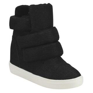 Cape Robbin FG55 Women's Fabric High-top Double-wide Straps Hidden Wedge Sneakers
