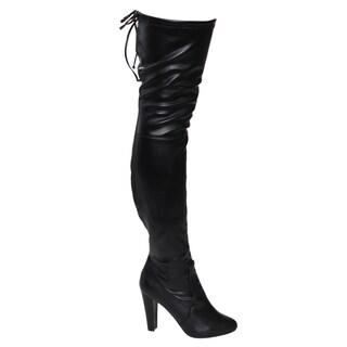 Breckelle's EF79 Women's Over-Knee High Lace Tie Drawstring Block Heel Boots