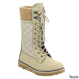 Refresh Women's IC73 Lace-up Quilted Sweater Collar Side-zip Snow Boots