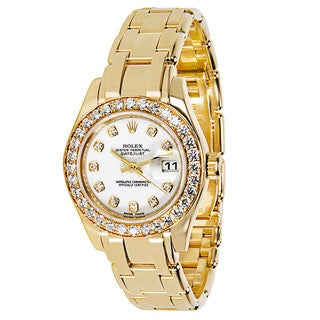Pre-Owned Rolex Pearlmaster 80298 Ladies Chronometer Watch in Diamond & 18K Gold