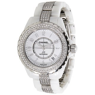 Pre-Owned Chanel J 12 H1422 Unisex Diamond Watch in White Ceramic