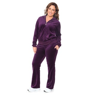 White Mark Women's Plus Size Velour Suit 3XL Size in Purple (As Is Item)