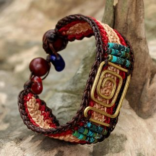 Handcrafted Brass 'Siam Maze' Turquoise Bracelet (Thailand)