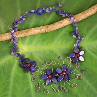 Handmade Multi-gemstone Glass 'Summer Zinnia' Flower Necklace (Thailand)