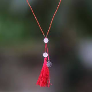 Handcrafted Sterling Silver 'Silver Lotus in Red' Rose Quartz Necklace (Indonesia)
