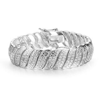 Heavy 2 Carat Diamond Bracelet in White Gold Over Brass