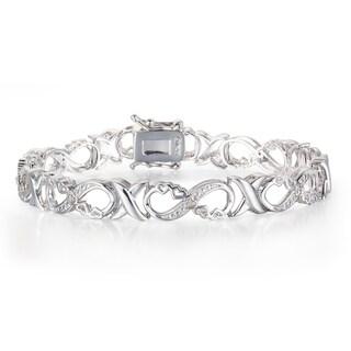1/10 Carat Diamond XO Infinity Bracelet In Platinum Over Brass