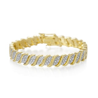 1/3 Carat Classic Diamond Tennis Bracelet In Yellow Gold Over Brass