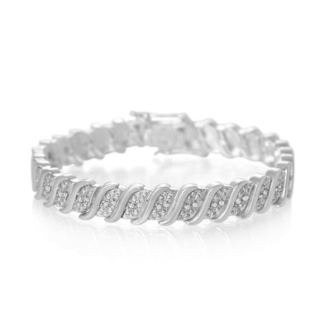 1/3 Carat Classic Diamond Tennis Bracelet in Platinum Over Brass
