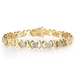Diamond XO Heart Bracelet in Two Tone Over Brass