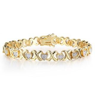Diamond XO Heart Bracelet in Two Tone Over Brass