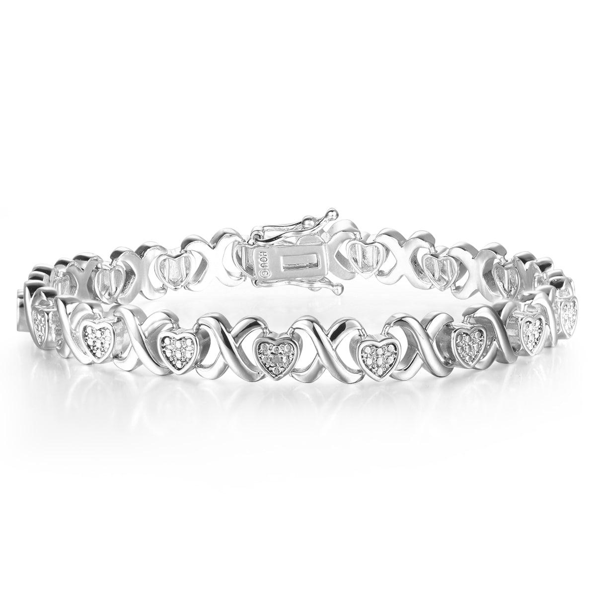 Diamond XO Heart Bracelet in Platinum Over Brass (White),...