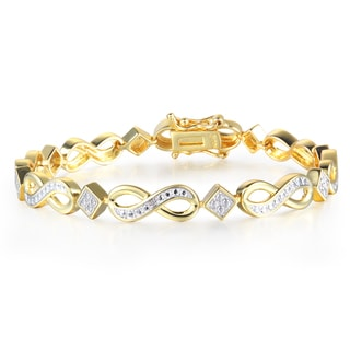 Diamond Infinity Bracelet in Yellow Gold Over Brass