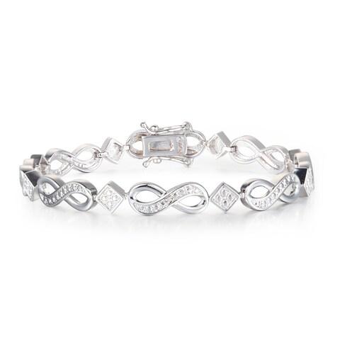 Diamond Infinity Bracelet in Platinum Over Brass - White J-K