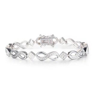 Diamond Infinity Bracelet in Platinum Over Brass