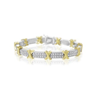 2 Carat Diamond X Tennis Bracelet In Two Tone Platinum Overlay