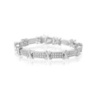2 Carat Diamond X Tennis Bracelet in Platinum Overlay