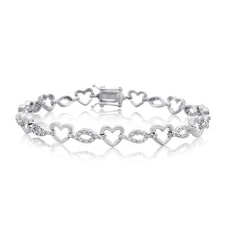 7/8ct Diamond Heart Bracelet In Platinum Overlay, 7 Inches