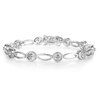 1/5 Carat Diamond Tennis Bracelet in White Gold Overlay