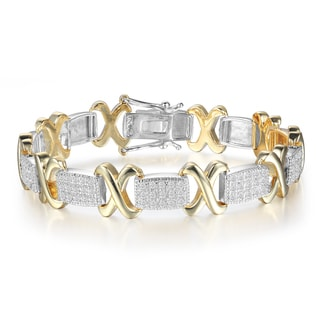 Two-Tone 1 Carat Diamond X Tennis Bracelet
