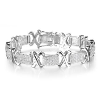 1 Carat Diamond X Tennis Bracelet in White Gold Overlay