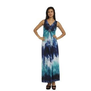 R M Richards Turquoise Sleeveless V-neck Maxi Dress