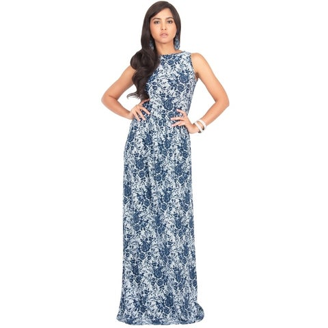 KOH KOH Women's Summer Floral Prints Cocktail Vintage Sleeveless Long Maxi Dress