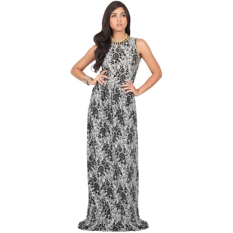 5a357460c9ff KOH KOH Women's Summer Floral Prints Cocktail Vintage Sleeveless Long Maxi  Dress