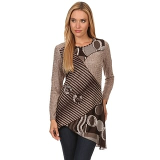 High Secret Women's Brown Striped Patchwork Long-sleeve Asymmetrical-hem Tunic Top