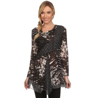 High Secret Women's Black Patchwork Cowl-neck Tunic