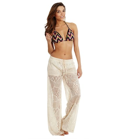 Women's Cover-up Front Tie Crochet Pants Beach Swimwear Swimsuit