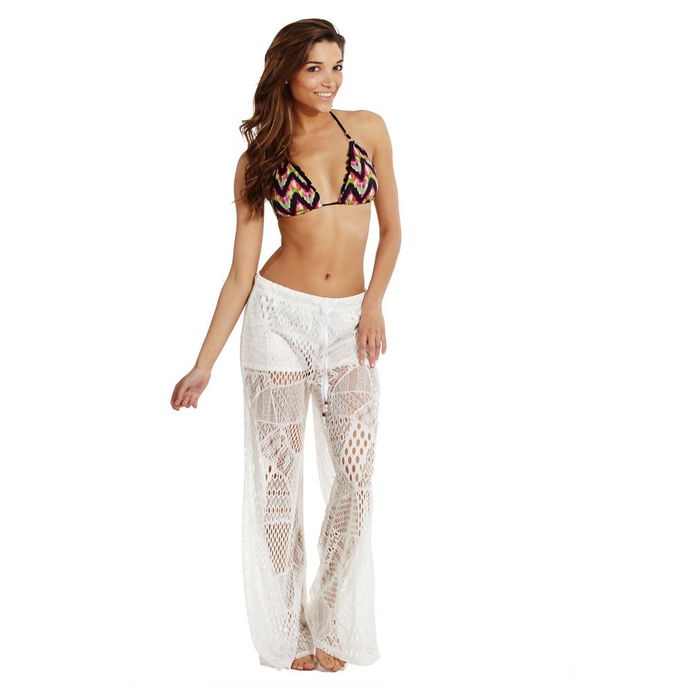 Womens Cover Up Front Tie Crochet Pants Beach Swimwear Swimsuit Ebay