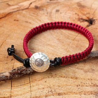 Handmade Leather Silver 'Red Om' Bracelet (Thailand)