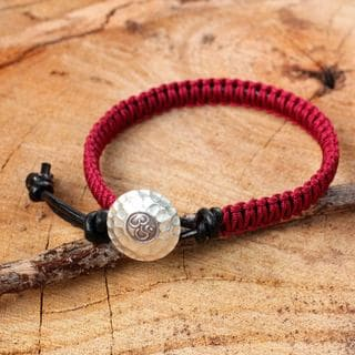 Handcrafted Leather Silver 'Red Om' Bracelet (Thailand)