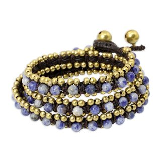 Handmade Brass 'Happiness' Sodalite Bracelet (Thailand)