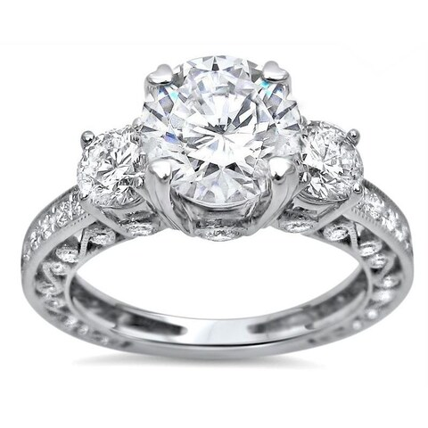 Noori 18k White Gold 2ct TGW Moissanite and 3 Stone 1ct TDW Diamond Engagement Ring (G-H, SI1-SI2)