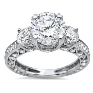 Noori 18k White Gold 2ct TGW Moissanite and 3 Stone 1ct TDW Diamond Engagement Ring (G-H, SI1-SI2)