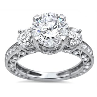 Noori 18k White Gold 2ct TGW Moissanite and 3 Stone 1ct TDW Diamond Engagement Ring (G-H, SI1-SI2) (More options available)