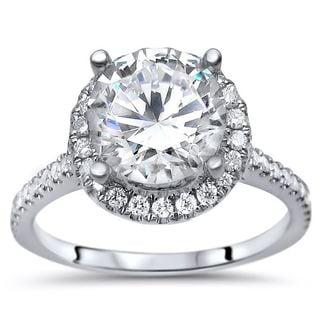 Noori 14k White Gold 2ct TGW Round Moissanite and 1/3ct TDW Diamond Engagement Ring (G-H, SI1-SI2)