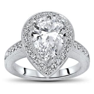 Noori 14k White Gold 1 4/5ct TGW Pear Moissanite and 1/2ct TDW Diamond Engagement Ring (G-H, SI1-SI2) https://ak1.ostkcdn.com/images/products/14172325/P20771510.jpg?impolicy=medium